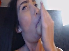 sexy pretty brunette babe masturbating