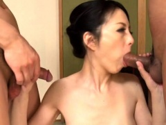 Busty Japanese wife has two horny guys drilling her holes