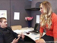 Desirable blonde Samantha Saint fucks Xander Corvus in the office