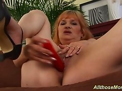 Horny redhead chubby big natural breast mom with her best friend alone at home