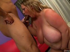 BBW Sienna Hills puts her melons together for Sledge Hammer' dong
