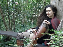 Outdoor clothed masturbation session with Lili and her toys