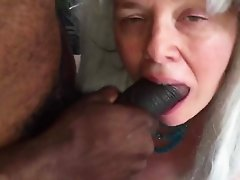 Slut fucks BBC and gets cum in her mouth