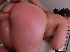 Plump raven haired chick Lola Foxx gets her anus slammed from behind tough