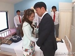 Japanese babe with long hair getting facial cumshot in reality shoot