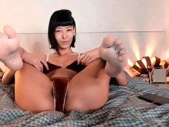FEET IN FACE - Asian Feet - Reverse Cowgirl Feet - NO SOUND