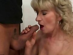Granny giving blowjob and getting fucked rough