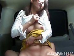 POV video of work for sex with findling of tight japanese asshole on back seat of the car