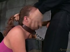 Tightly bound red haired bitch gets fucked by her black BF and his white buddy