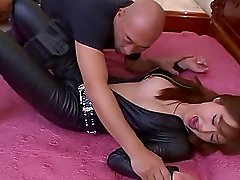 Asian sleeping beauty is woken up for a hard fuck with a bald guy