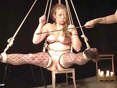 MILF blonde lesbian mistress abusing her submissive teen blonde slave