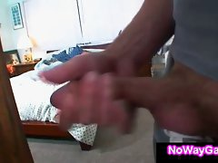 Gay roommate jerks off while lad sleeps