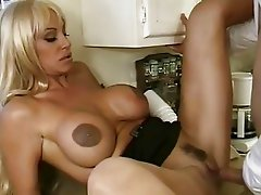 Luscious bitch Kat Kleevage gets her moist snatch crammed with stiff cock